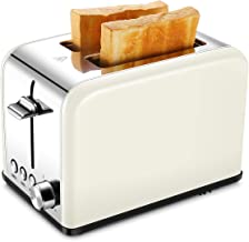 Compact Small Bread Bagel Toasters 2 Slice, Wide Slot Stainless Steel Kitchen Toaster, Cream