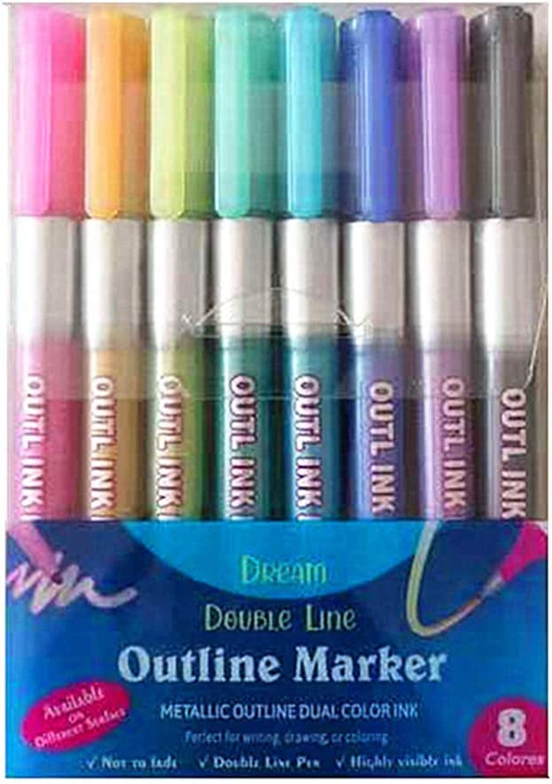 caralin 8 Colors Double Limited time trial price Lines Pen Marker Outline Rapid rise Art Fluorescent