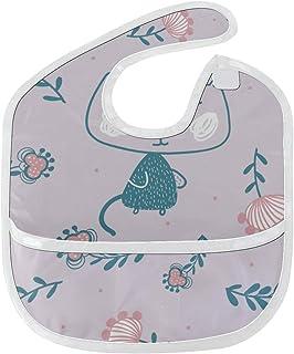 LNJKD よだれかけ 面白い猫やきれいな花 ベビー食事用エプロン スタイ 赤ちゃん 新生児 ビブ 柔らかい 防水 丈夫洗える 袖なし 調整可能 6ヵ月~3歳適用 保育園 女の子 男の子