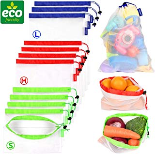 Reusable Mesh Produce Bags eco Friendly Zero Waste Recyclable Net Shopping Bags for Refrigerator Vegetable Toys Storage with Drawstring Tare Weight Tags Washable Large Medium Small Bulk Set of 12pcs