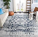 Safavieh Madison Collection MAD603D Oriental Snowflake Medallion Distressed Non-Shedding Stain Resistant Living Room Bedroom Area Rug, 9' x 12', Cream / Navy