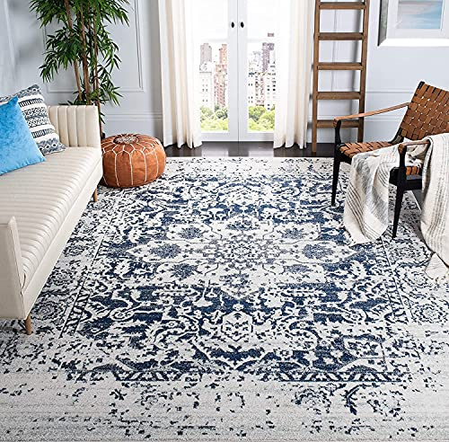 Cream and navy blue area rug
