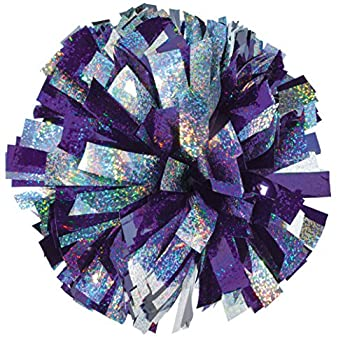 Chasse 2 Color Holographic Mix Cheer Pom Poms - Cheerleader Pom with Baton Handle  Sold Individually