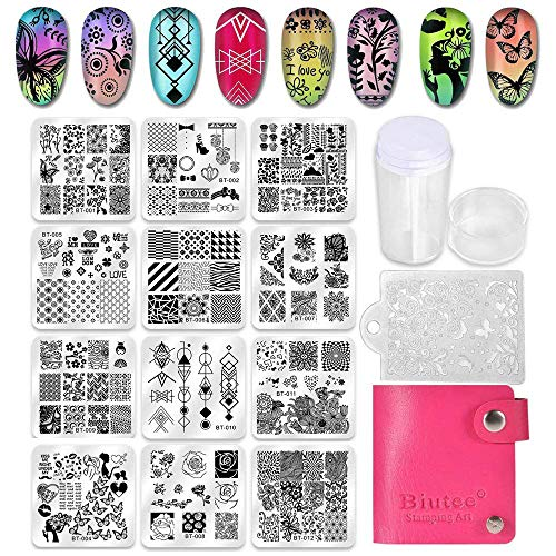 Biutee 12er Nagel Stamping Schblonen Platte set mit Lagerbeutel Leaf/flower/animal/Love/Lace