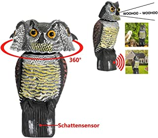 AMILIEe Owl Decoy 360 Rotate Head to Scare Birds, Scarecrow Owl Decoy Statue Realistic Scary Sounds & Shadow Fake Owl Outdoor Pest Bird Deterrent for Patio Yard Garden Protector (with Voice)