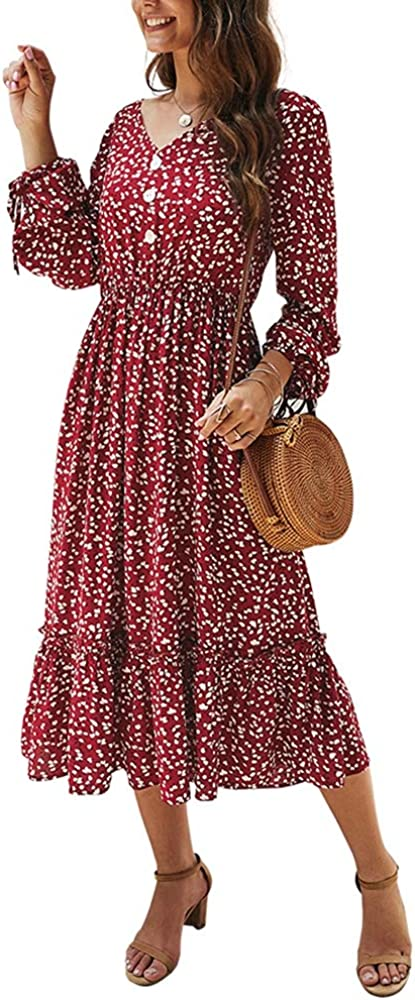 Super beauty product restock quality top Women's Casual Button Max 89% OFF Midi Dress Long Floral Sleeve Tie V Print