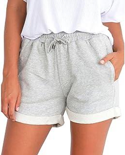 BakeLIN Women's Summer Shorts Plain Crimping Loose Beach Sports Hot Pants (Black Grey Pink Yellow, S~XL)