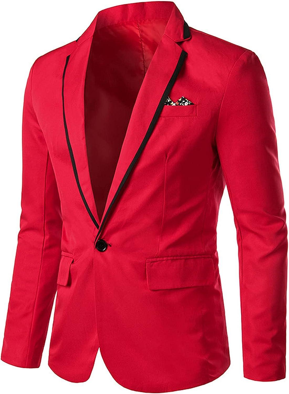 Men's Casual Blazer Suit Jackets Two Button Lightweight Unlined Coat Long Sleeves Peak Lapel Collar One Slim Fit