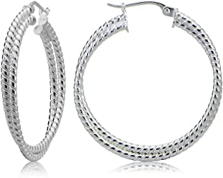 Sterling Silver Intertwining Rope Hoop Earrings, 15mm, 20mm, 25mm, 30mm
