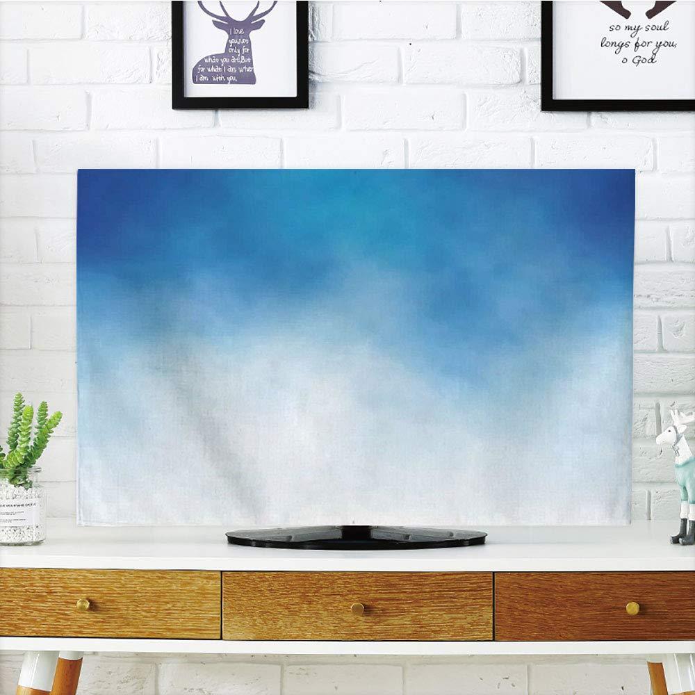 Cubierta de polvo para televisor LCD, azul, diseño retro, círculos dibujados a mano, redondos, celdas de