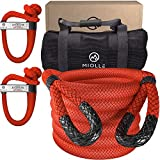 Miolle Heavy Duty 1-1/4' x 30' Kinetic Recovery & Tow Rope, Red (53000 lbs), with 2 Spectra Fiber Soft Shackles 9/16' x 10' (54000 lbs)