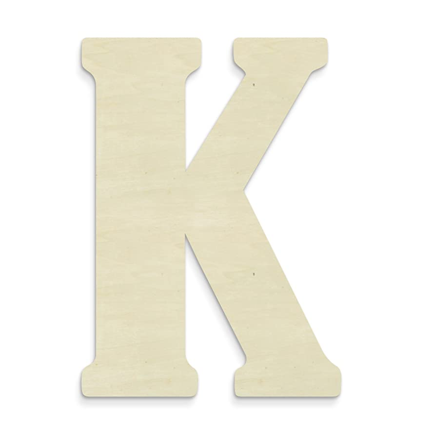 UNFINISHEDWOODCO 23-Inch Unfinished Wood Letter, Large, Letter K