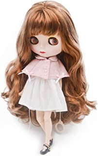 1/6 BJD Doll is Similar to Neo Blythe, 4-Color Changing Eyes Matte Face and Ball Jointed Body Dolls, 12 Inch Customized Dolls Can Changed Makeup and Dress DIY (Brown)
