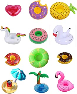 Sunnyillumine 12 PC Mixed Inflatable Coasters Inflatable Drink Holder Float,Fruit Donuts Flamingo Swan Plam Duck Inflatabl...