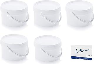 MARKESYSTEM - Seau Hermétique Pack de 5 x 2,6 litres - Conteneurs empilables en plastique avec couvercle - Récipient alime...