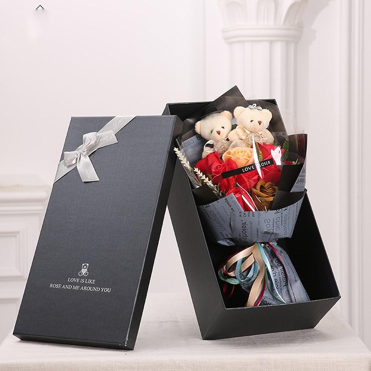 書店ルート忙しいMINENA ソープフラワー 石鹸 花 バラ 造花 花束 二つクマの人形が付き 母の日 誕生日 結婚祝い 結婚記念日バレンタインデー のプレゼントにお勧め (レッド)