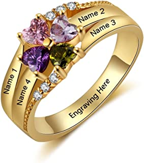 personalized family birthstone rings