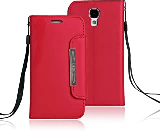 JKase Wallet Leather Case Cover with Credit / Business Card Holder Samsung Galaxy S4 SIV I9500 - Retail Packaging (Red)