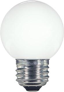 Satco 1.4W G16.5/WH/LED/120V/CD LED LED Globe Light, 1.4W E26 G16 1/2, Satin White Bulb [Pack of 2]