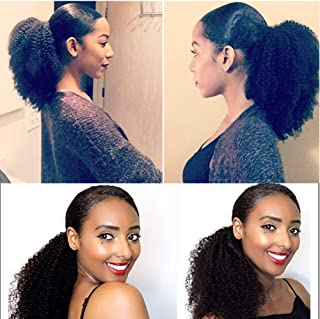 Wrap Drawstring Short Afro Kinky Curly Human Hair Puff Ponytail Extensions with Clips 16