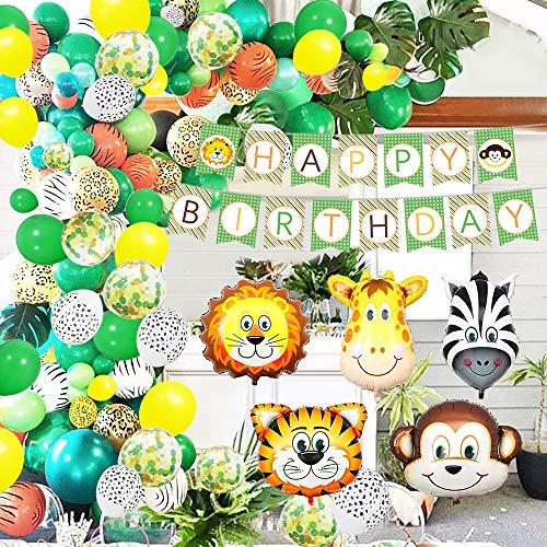 誕生日 バルーン 飾り付けセット ジャングルサファリ 動物 吹雪入れ風船 HAPPY BIRTHDAYガーランド ヤシの葉付き 子供 男の子と女の子 バースデーパーティーに 道具付き 緑の森 Ifunnygoo