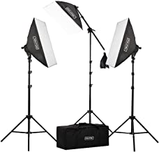 """Fovitec - 3-Light 2500W Fluorescent Lighting Kit for Photo & Video with 20""""x28"""" Softboxes, stands, Boom Stand, & Carry Case"""