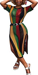 Womens Sexy Colorful Mesh See Through Hollow Party Club Beach Dress Without Belt