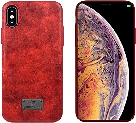 iPhone Xs Case, Leather Flexible & Soft TPU Luxury Ultra Slim Leather Mobile Phone Case Compatible iPhone Xs [Support Wireless Charging] (Red)