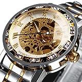 Orologi, orologi da uomo Meccanico a carica manuale Scheletro Orologio classico Steampunk in acciaio...
