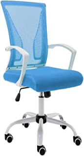 Modern Home WHBLUE Zuna Mid - Back Office Chair, White/Blue