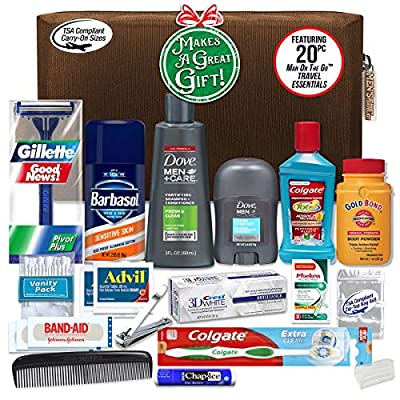 Convenience Kits Men's Premium 20 Count Necessities Travel Kit, Featuring: Dove Men & Care Products