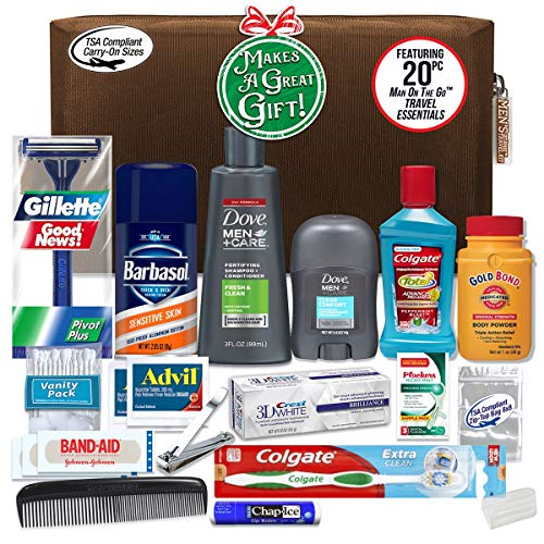 Convenience Kits Men's Premium 20 Count Necessities Travel Kit, Featuring: Dove Men & Care...