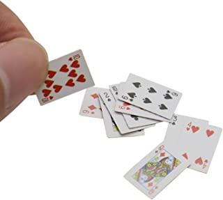 Buorsa 6 Pack 1:12 Miniature Games Poker Playing Cards Mini Playing Cards Poker Playing Cards Mini Decks Cards Decoration Accessories