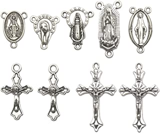 100g (60pcs) Antique Silver Cross Jesus Maria Our Lady Miraculous Centerpiece Crucifix Medal Charms Pendants for Crafting, Jewelry Findings Making Accessory For DIY Rosary Necklace Bracelet M154