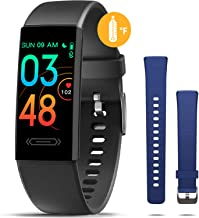 MorePro Fitness Tracker with Body Temperature Sleep Monitor, Health Tracker with Blood Pressure Heart Rate Monitor, Multiple Sports Mode Step Calorie Counter, Perfect Tech Gift for Kids Women Men