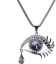 Qiyun (TM) Faceted Crystal Oval Tear Drop Bead Eye Shape Design Pendant Link Necklace