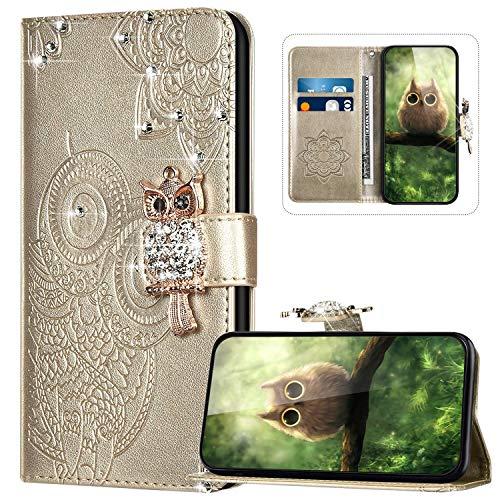Handyhülle für Samsung Galaxy A31 Hülle Leder,Galaxy A31 Klapphülle Handytasche Bling Glitzer Diamant Eule Muster Tasche Leder Flip Case Lederhülle Magnetisch Wallet Schutzhülle,Gold