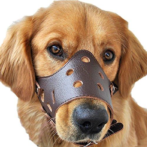 Leder Hunde Maulschlaufe Verstellbar Anti Beißen Bellen Fressen Beisskorb Maulkorb Braun (S)