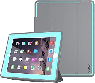 iPad 2/3/ 4 Case, SEYMAC Stock 3 Layer Heavy Duty Drop Proof Smart Protective Cover with Auto Sleep/Wake Magnetic PU Leather Stand for iPad 2/3/4 Generation (NOT for iPad Mini) (Gray/Sky Blue)