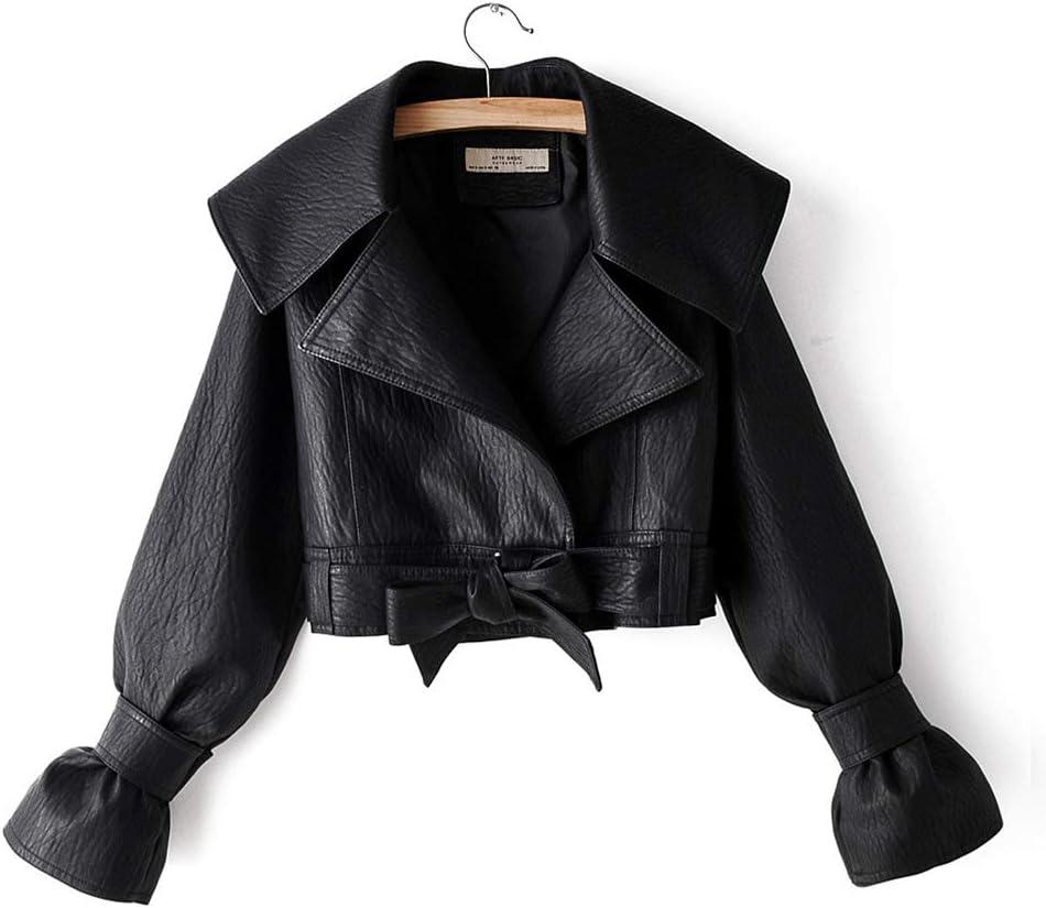 Hzikk Fashion Lapel Bow Frenulum Leather Jacket Females Locomotive Pu Leather Clothing Short Coats,Black,M