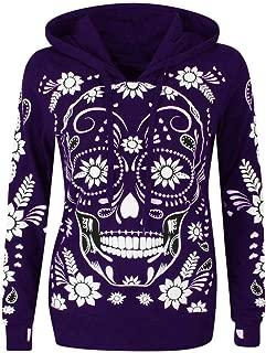 Xinantime Womens Hoodied Shirts Long Sleeve Skull Print Hooded Sweatshirt Pullover Blouse Tops Plus Size Hoodies