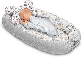 BABYAKESS Nido para Bebe Reductor de cuna de bebé Nido de viaje 100% Algodón Cuna de bebé Saco de dormir Reducción de cuna Protector de cuna Con cojín antiasfixia