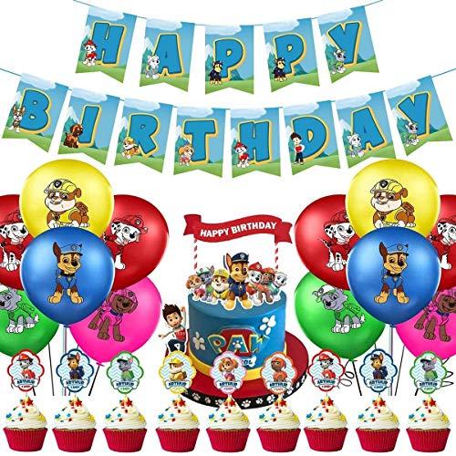 WENTS Paw Patrol' Geburtstag Dekoration Set,Paw Patrol Party Supplies,Kompakt Happy Birthday Deko Spirale Partykette Luftballon Paw Patrol für Kinder Partydekorationen 39 PCS