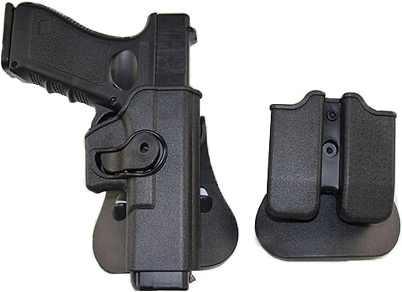 AJDGL Funda de Pistola táctica con Funda de Revista, Funda de Pistola Airsoft, Funda de Cintura, Traje para Glock 17 19 / Colt 1911 / Beretta M9 M92,G17 Black