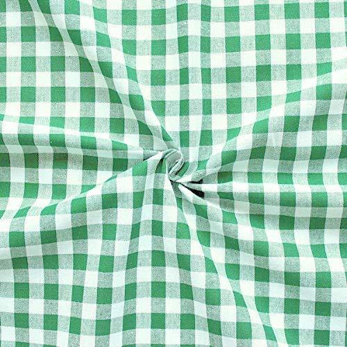 STOFFKONTOR 100% Baumwollstoff Stoff Züchen Vichy Karo groß - Öko-Tex Standard 100 - Meterware, grün-Weiss -...