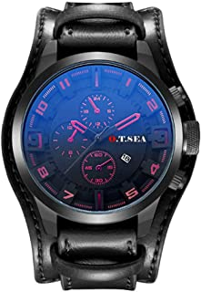 Men's Watch Analog Quartz Watch with Calendar and Leather Band for Men