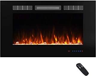 Valuxhome 36 Inches Fireplace Recessed, Insert Electric Fireplace Heater with Remote, Timer, Thermostat, Crystal and Logset, Black
