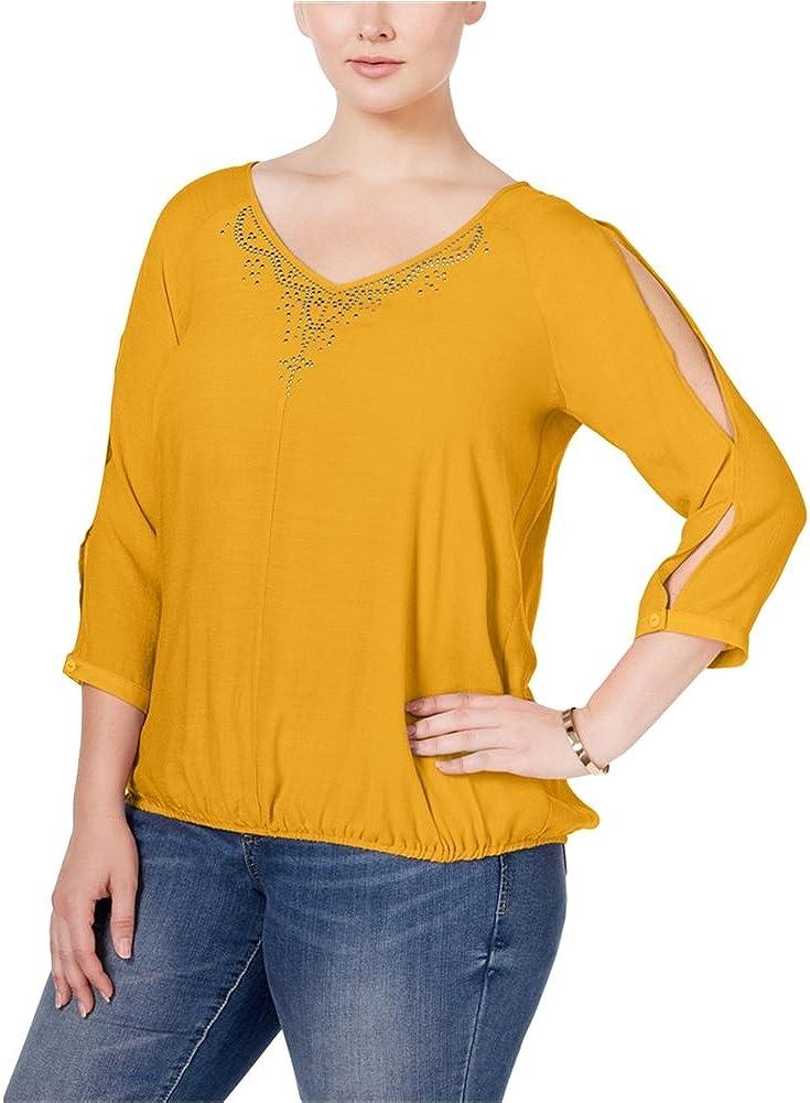 JM Collection Womens Cold-Shoulder Pullover Blouse