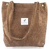 Materiale: Questa tote bag è realizzata in velluto a coste di alta qualità e materiale di tela, super robusta, morbida e lavabile con acqua. Può essere la borsa di tutti i giorni essenziale. Si sente più morbido, delicato sulla pelle quando la mano l...