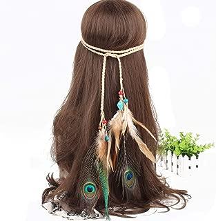 Hippie Fashion Headband Indiana Elegant Peacock Feather Headband Bohemian Gypsy Feather Headband Woman Girls Favorite Hair Accessories